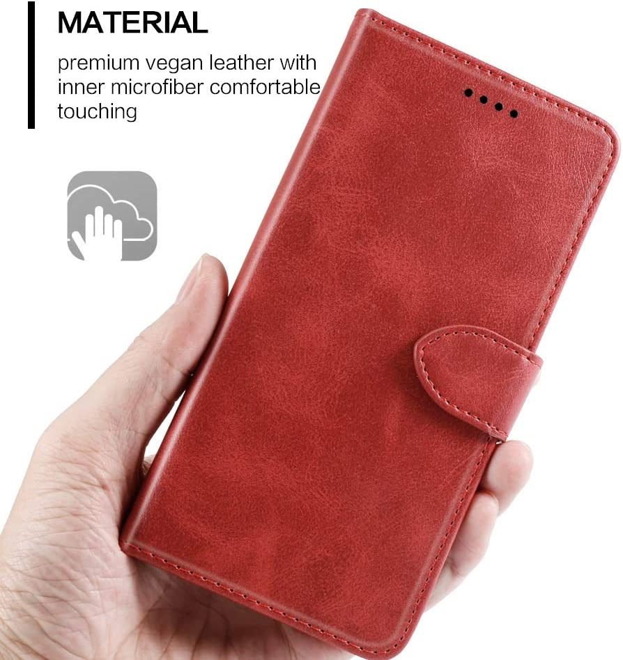 PU Leather Wallet Shockproof Protective Bookstyle Case with Credit Cards Slot and Magnetic Closure Flip Case Red LifeePro Compatible with Doogee N20 Case, Pocket