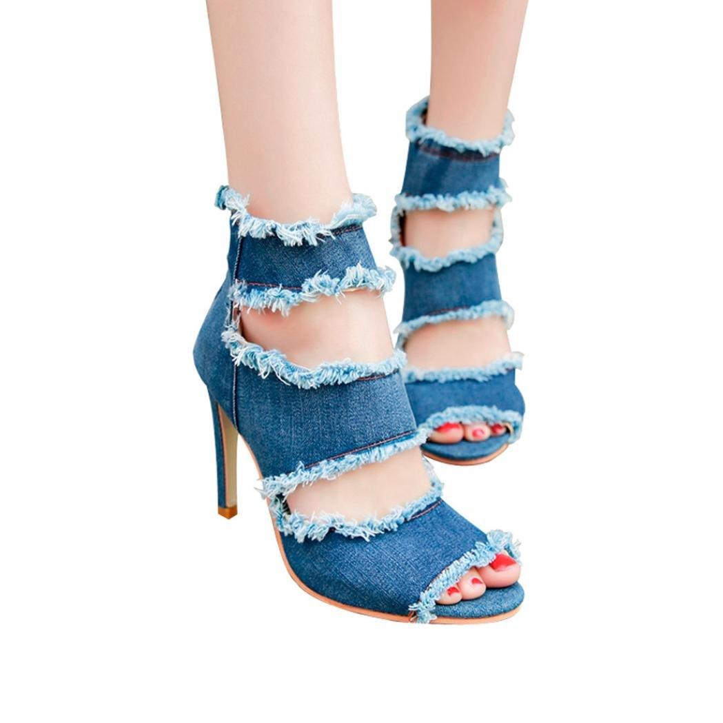Scarpe con Tacco Alto alla Caviglia e Sandali con Tacco in Denim, UOMOGO® Donna Mode Jeans Sandal, Scarpe con Tacco DonnaBlu