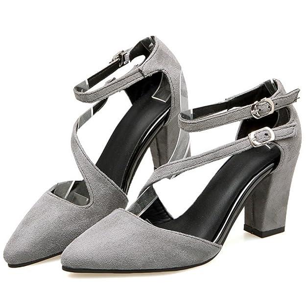 RAZAMAZA Mujer Moda Criss Strappy Cerrado Sandalias Tacon Ancho Fiesta  Zapatos  Amazon.es  Zapatos y complementos 4e0a301c33ca