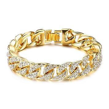 magasin en ligne 4ee49 0de62 L&H 14Mm Bracelet Homme Diamant Plaqué Or 18K Cubain Chaîne 23Cm Hip Hop  Bijoux
