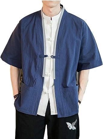 Camisa de Estilo Chino Retro Tang Suit Buckle de Manga Corta Kimono: Amazon.es: Ropa y accesorios