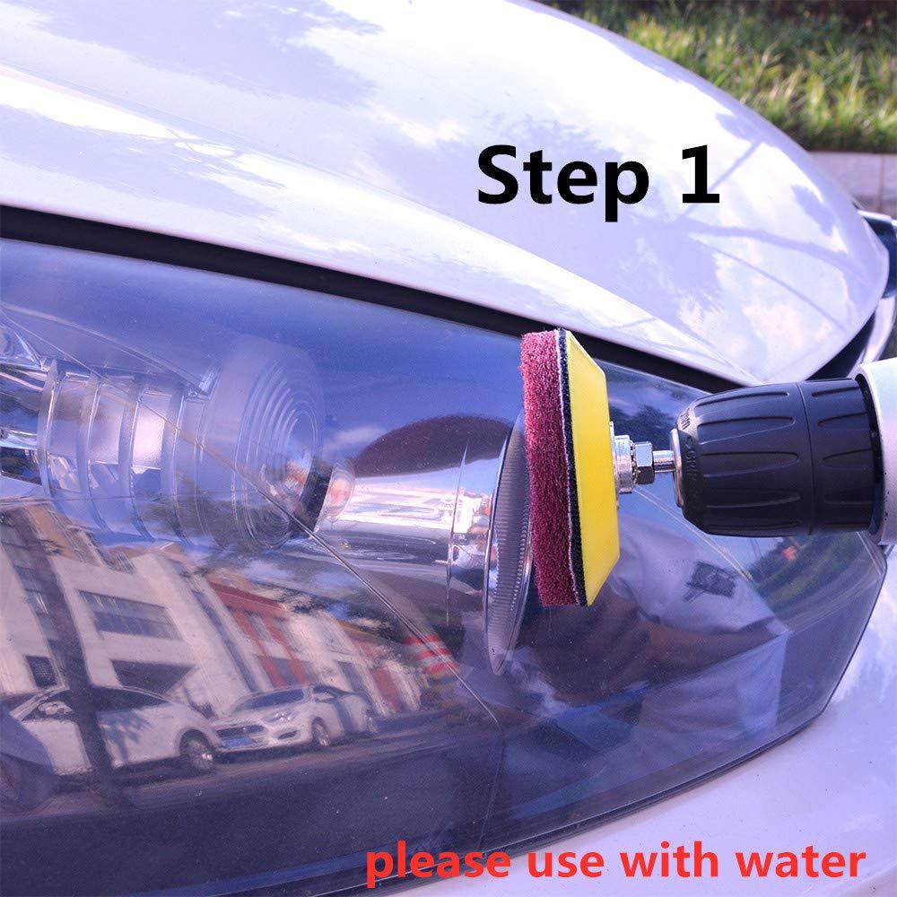 ZCZSDXB sandpaper 3 Inch Automotive Polishing Set Car Headlight Restoration Kit Light Repair Sandpaper Sponge Cleaning Pads Fits Dremel