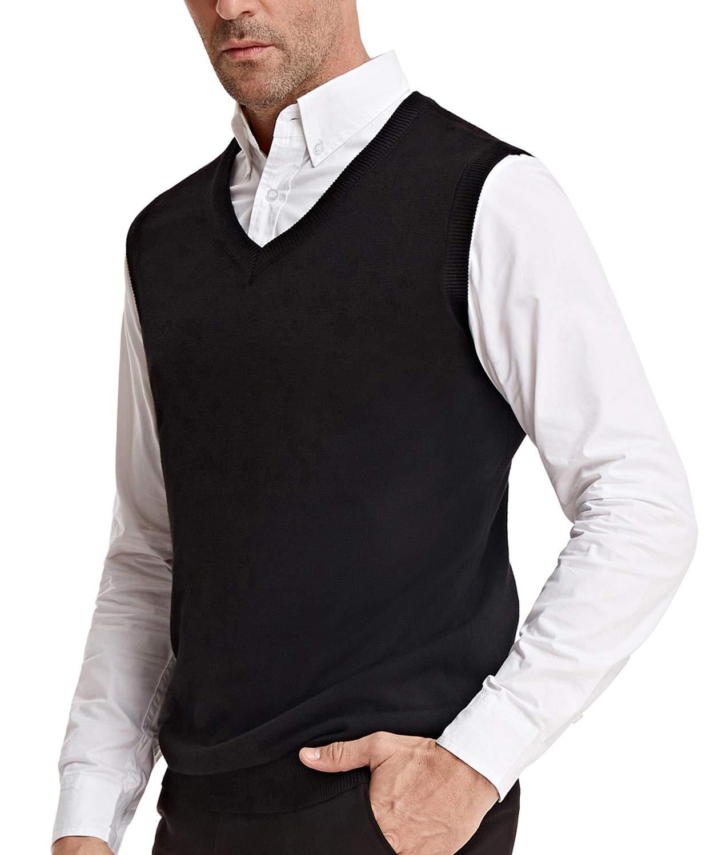 PAUL JONES Men's Knitting Vest with Ribbed Neck Armhole Hem Size XL Black by PAUL JONES