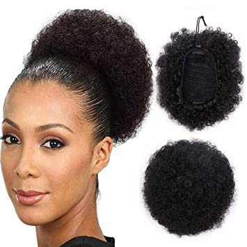 High Puff Afro Ponytail Synthetic Kinky Curly Hair Piece Short Hair Extension Puff Ponytail Wrap Updo Hair