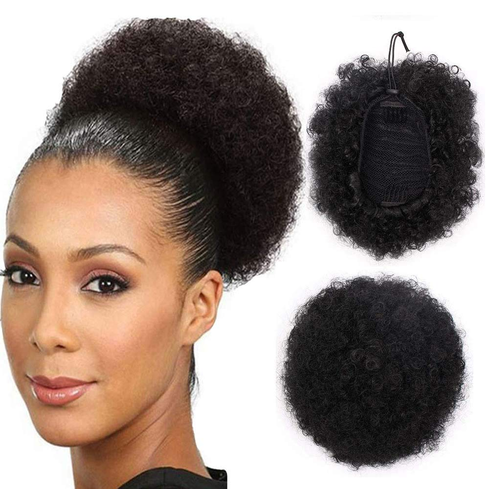 High Puff Afro Ponytail Synthetic Kinky Curly Hair Piece Short Hair Extension Puff Ponytail Wrap Updo Hair Extensions With Clips 1b Black Buy Online In United Arab Emirates At Desertcart Productid 98016793