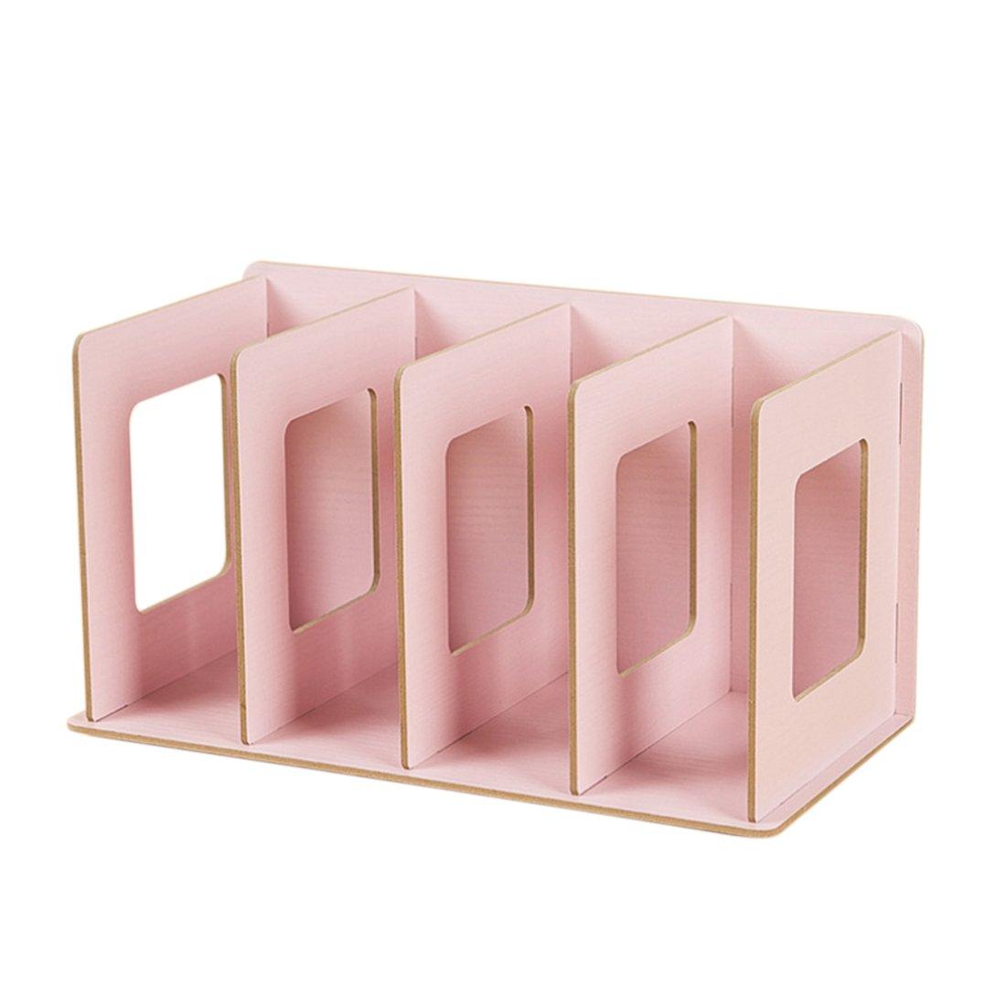 Katoot@ Creative Wooden DIY Desktop Book CD Storage Rack Holder Sorting Bookends Office Carrying Shelves Home Supplies (Pink)