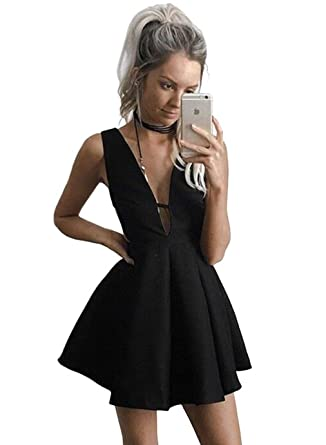 Yorformals Womens V Neck A Line Satin Homecoming Dress Short Formal