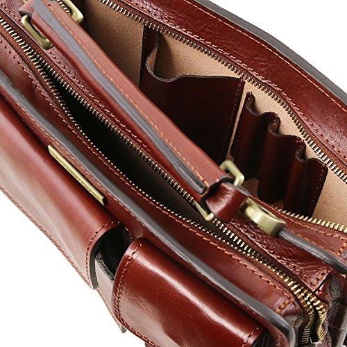 Tuscany Leather - Tania - Bolso de señora en piel con asas Miel - TL141270/3 Rojo