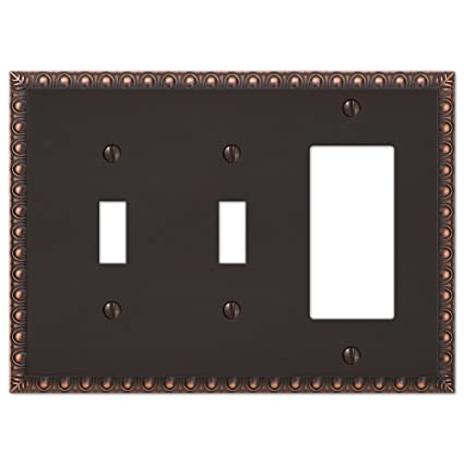 2 Toggle 1 Rocker Combination Egg Dart Switch Plate Outlet Cover