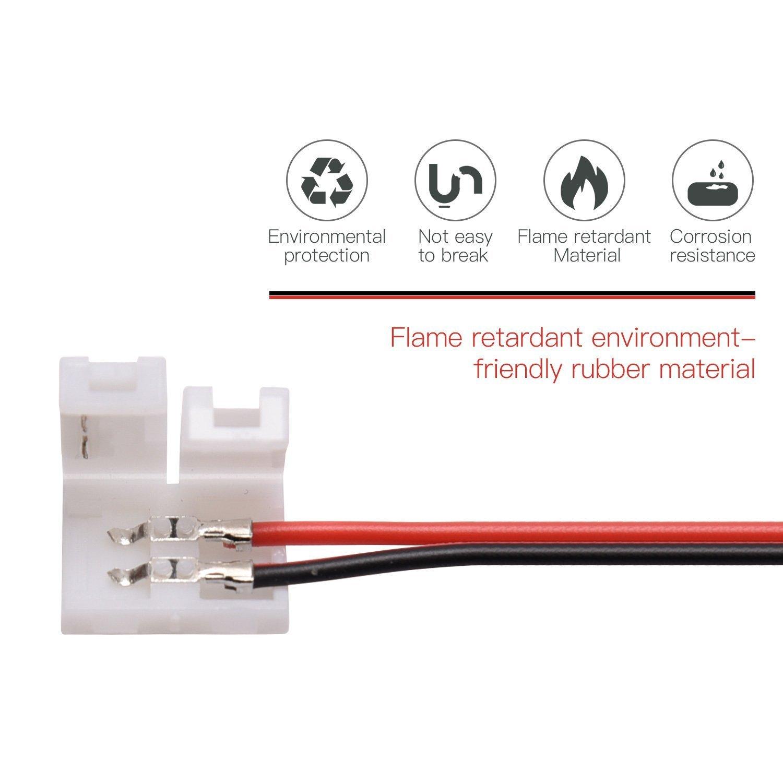 12 pack connecteurs de bande de LED 2 broches JACKYLED bande de conducteur de conducteur unique couleur 22awg sans soudure connecter fil pour 8mm 3528 2835 LED bandes de lumi/ères