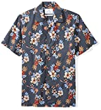 28 Palms Men's Standard-Fit 100% Cotton Tropical Hawaiian Shirt, Blue Guitar Floral, X-Large