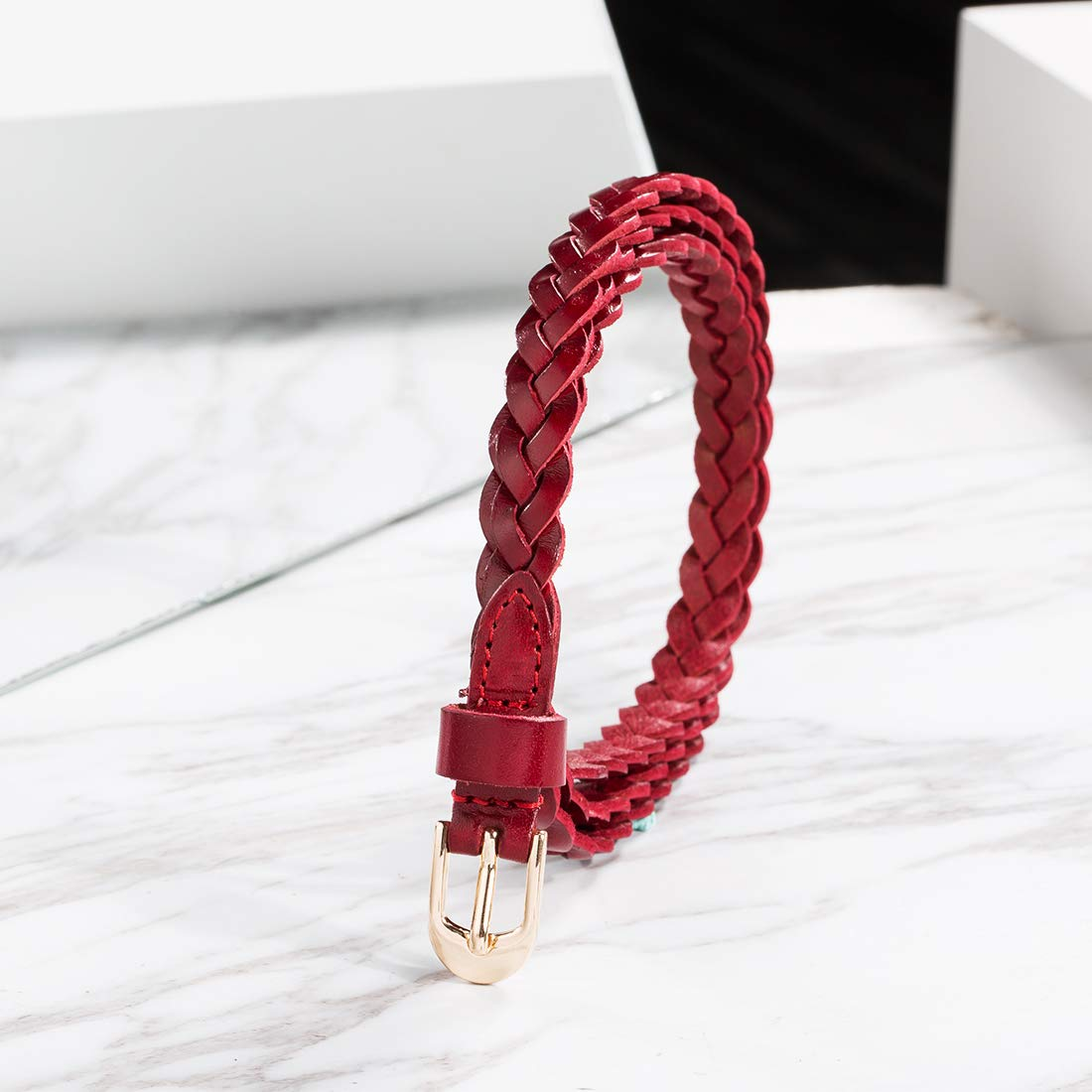 Women Cow Leather Stylish Adjustable Casual Skinny Belts Woven Stretch Braided Red Belts by OMENTAR (Image #6)