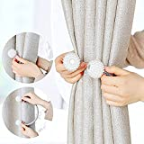 Woven Wire Curtain Tie Back With Pearl Bead Flower Ball, Mumustar Curtain Tiebacks Buckles Fasten Curtain Holderbacks For Home Office Decorative Curtain Drapes (Bead Ball Curtain Tie Back)