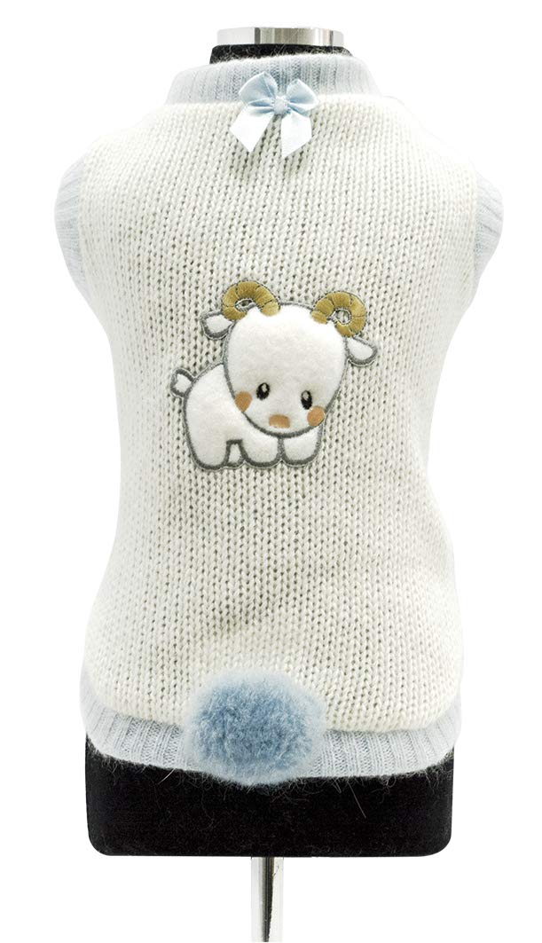 Trilly tutti Brilli andre Wool Sweater with Contrasting Profiles, Thermal Application and Pompon with Brooch, X-Large, Light bluee