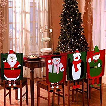 Set Of 4 Dangling Feet Assorted Christmas Theme Chair Hat Back Covers Xmas Party Dinner Dining