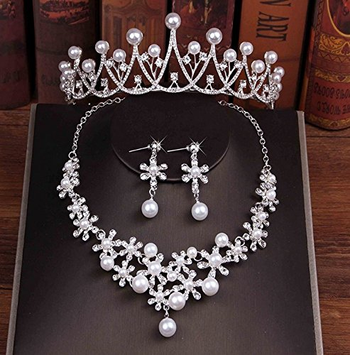 Quantity 1x comb Hair jewelry _three-piece_suit comb Hair Headdress necklace set bride Crown Tiara Party Wedding Headband Women Bridal Princess Birthday Girl Gift _Court_ Headdress _3_piece_ set ()