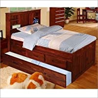 FULL BOOKCASE BED - MERLOT