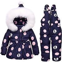I più nuovi vestiti delle ragazze dei bambini regolano l'inverno incappucciato dell'anatra giù il rivestimento + pantaloni impermeabile tuta sportiva dei vestiti dei bambini caldi