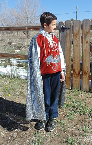 Boys 5-7 Adjustable Red and Silver Dragon Slayer Costume with Cape! by Fru Fru and Feathers Costumes & Gifts