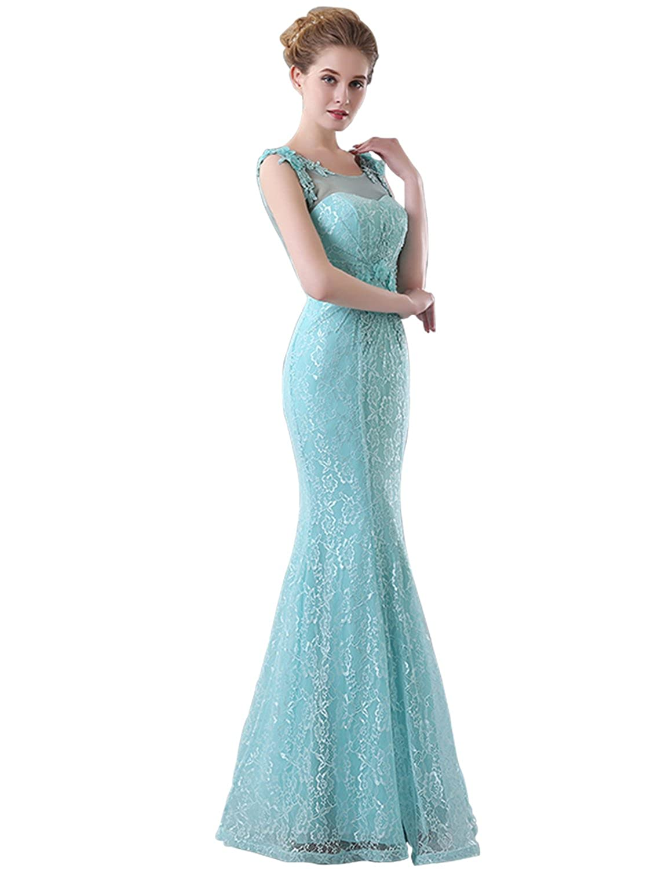 Amazon.com: BessDress Women\'s sheer neck Prom Dresses Long Mermaid ...