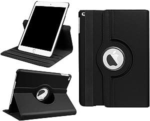 DETUOSI iPad 9.7 Case 2018 2017/iPad air Tablet Case,360 Degree Rotating Folio Smart Cover for Apple iPad 9.7 inch (6th Gen, 5th Gen) iPad air iPad air 2 Folding Stand with Auto Sleep Wake,Black