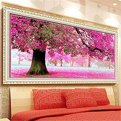 Kisstaker 54x118cm Sakura Cherry Blossom Trees DIY Cross Stitch Embroidery Kit Home Decor Arts, Crafts & Sewing Cross (Cross Stitch Patterns)
