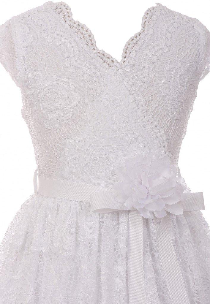 Flower Girl Dress Curly V-Neck White Embroidery AllOver for Little Girl White 8 JKS.2066 by BNY Corner (Image #2)