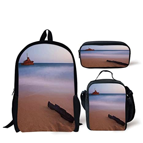 f7cc86eb9987 Amazon.com: School Lunch Pen,Ocean Decor,Shipwreck on Beach at Dusk ...