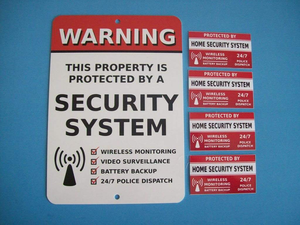 Home Security Alarm System Yard Sign & 4 Window Stickers - Stock # 704