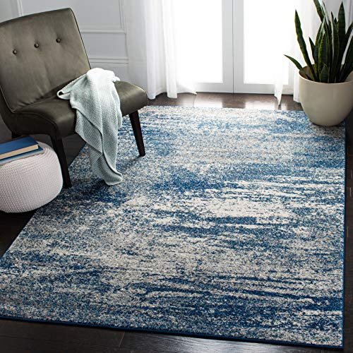 Safavieh Evoke Collection EVK272A Distressed Modern Abstract Navy and Ivory Area Rug 3 x 5