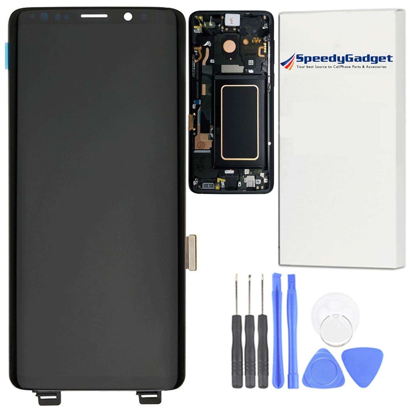 [Midnight Black Frame] for Samsung Galaxy S9 AMOLED LCD Digitizer Screen Touch Assembly Display Replacement Part 5.8 inch by speedygadget