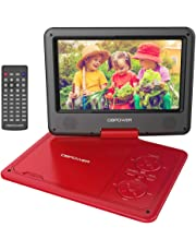 DBPOWER 9.5'' Lettore DVD portatile, 5 ore Batteria ricaricabile, display inclinabile, Massimo support con schede SD, pennette USB e riproduzione diretta di AVI/RMVB/MP3/JPEG (Rosso, 9.5)