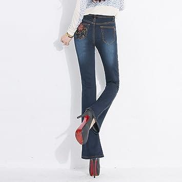 XiaoGao Pantalones Vaqueros de Cintura Elastica Negro ...