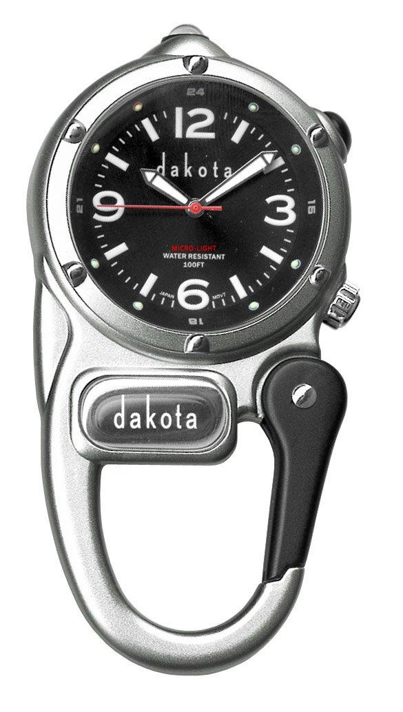 Dakota Watch Company Mini Clip with Microlight Dial, Silver/Black