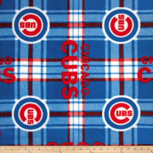 (Fabric Traditions 0315242 MLB Fleece Chicago Cubs Plaid Red/Blue Fabric by The)