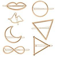 Zhichengbosi Gold Hairpin, Minimalist Dainty Hair Clips, Circle, Triangle, Moon, Horse, Lip Shape, for Women Girls Hair Styling Tool (Pack of 7)