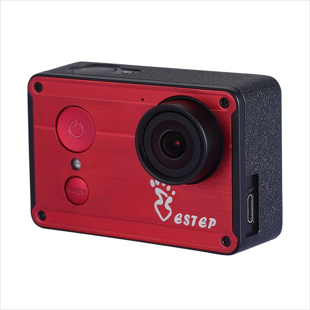ESTEP Smart Android 2.4'' Touchscreen 12MP Ultra HD 1080P Waterproof 170° Wide-angle Wifi Sports DV Action Camera Camorder with Accessories Kit,Red