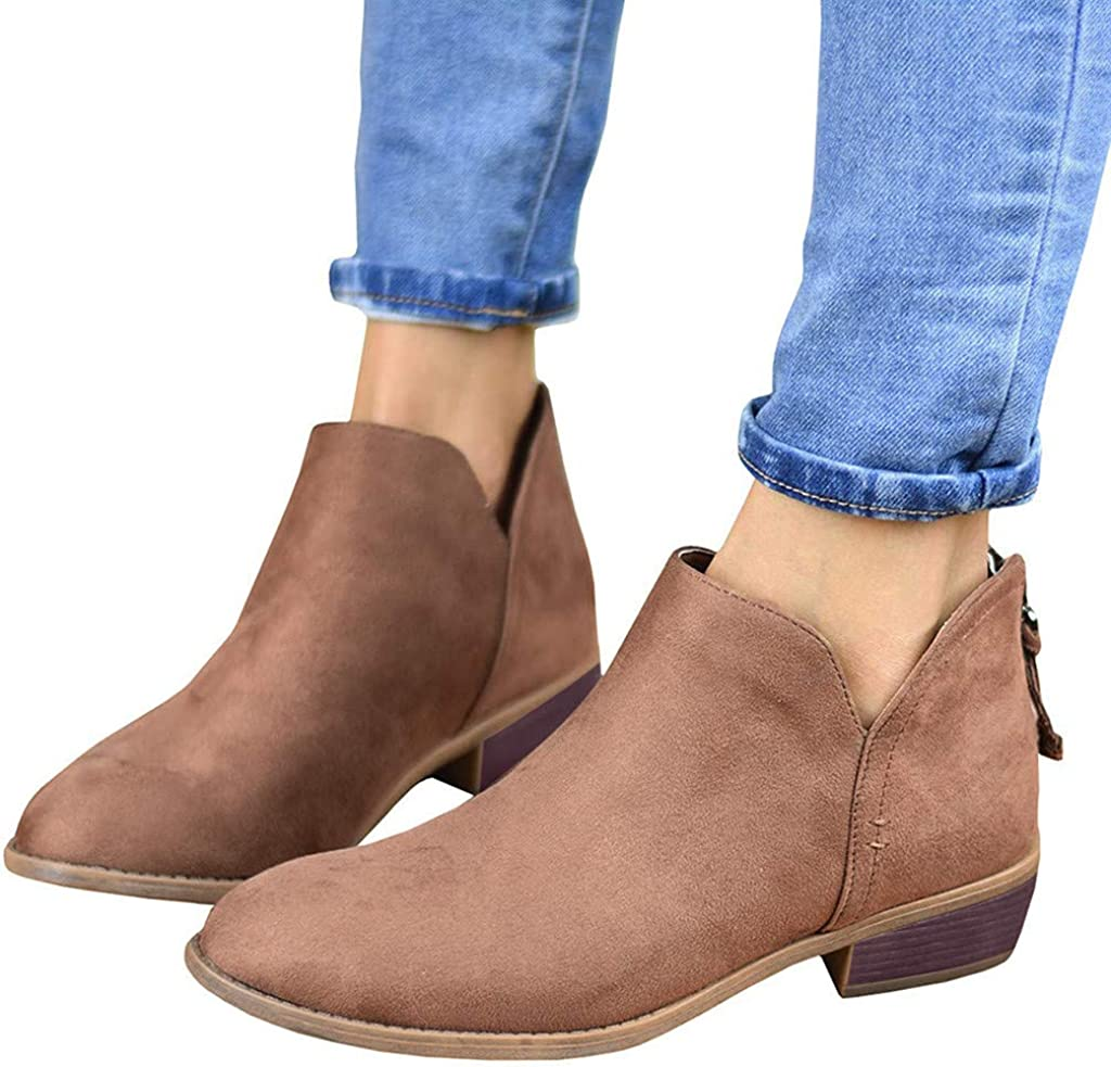 Womens Casual Autumn Ankle Boots Round Toe Low Heel Stacked Zipper Booties by Nevera Brown