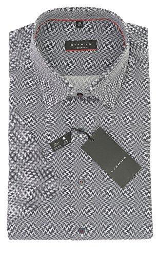 ETERNA Herren Kurzarm Hemd aus 100% Baumwolle Modern Fit mit Kent Kragen tailliert geschnitten Gr. 44 Weiß Blau Muster