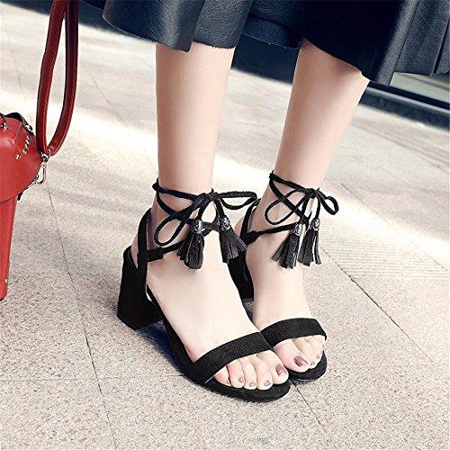 eólico zapatos Suede grandes de tacón de nacional black astilleros mujer los Borlas sandalias sandalias alto de verano la de mujer TxYqxn47
