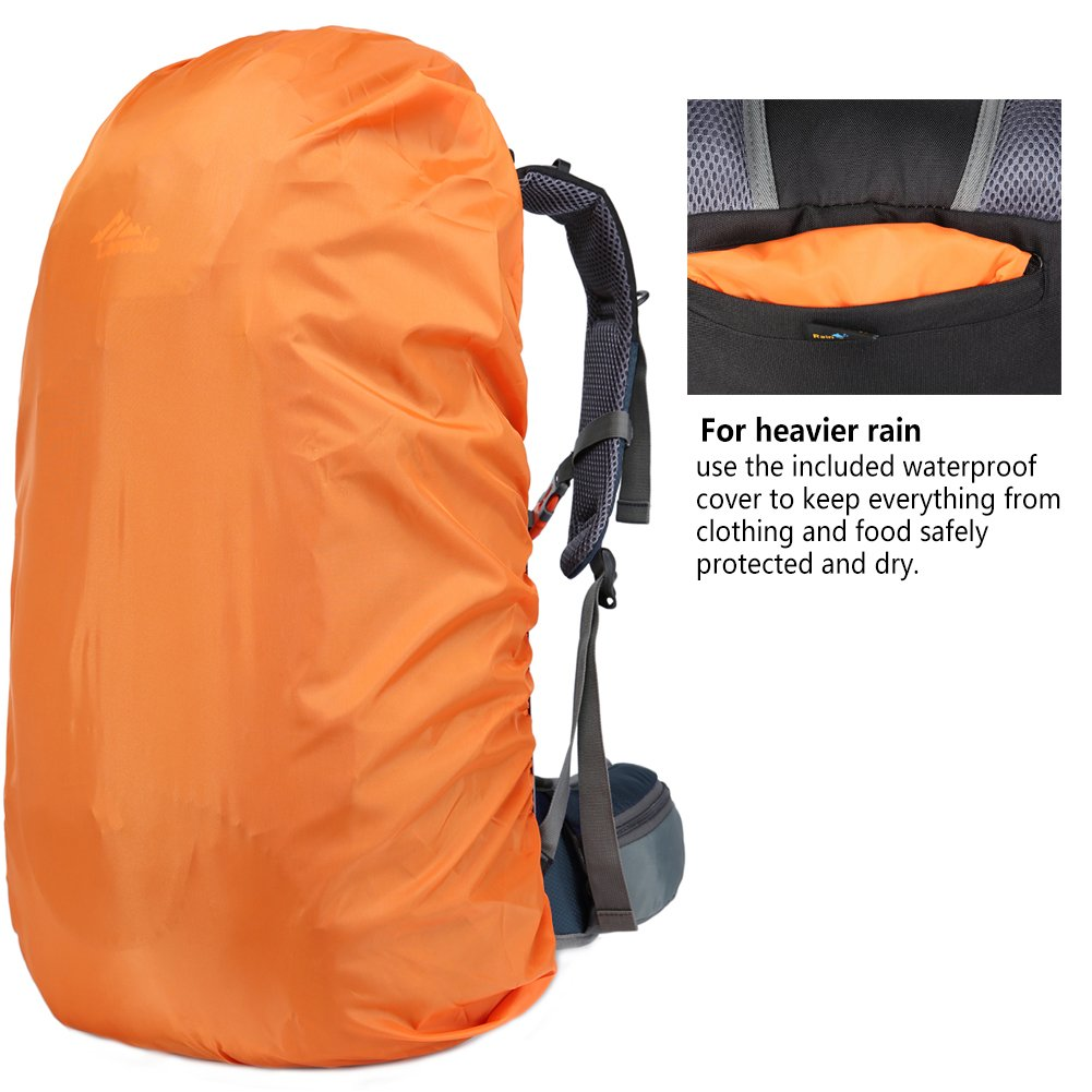 Loowoko Hiking Backpack 50L Travel Camping Backpack with Rain Cover for Outdoor Traveling (Dark Blue) by Loowoko (Image #6)