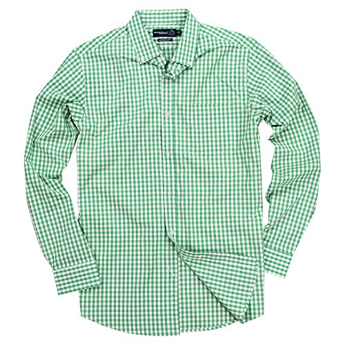 Mens Long Sleeve Button Down Stretch Fit Gingham Plaid Shirt