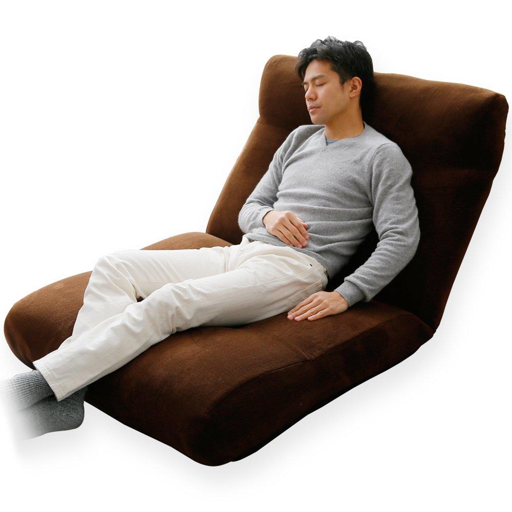 座椅子 特大サイズ 1人用ソファ リクライニング 可動 ヘッドレスト ワイド座面 ポケットコイル ブラウン