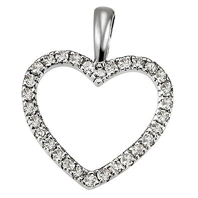 Herzanhänger  Goldmaid Damen-Herzanhänger aus 585 Weißgold mit 30 Diamanten 0.16 ...