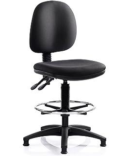 Technicians Heavy Duty Draughtsmans Chair 150kg Capacity Black Fabric