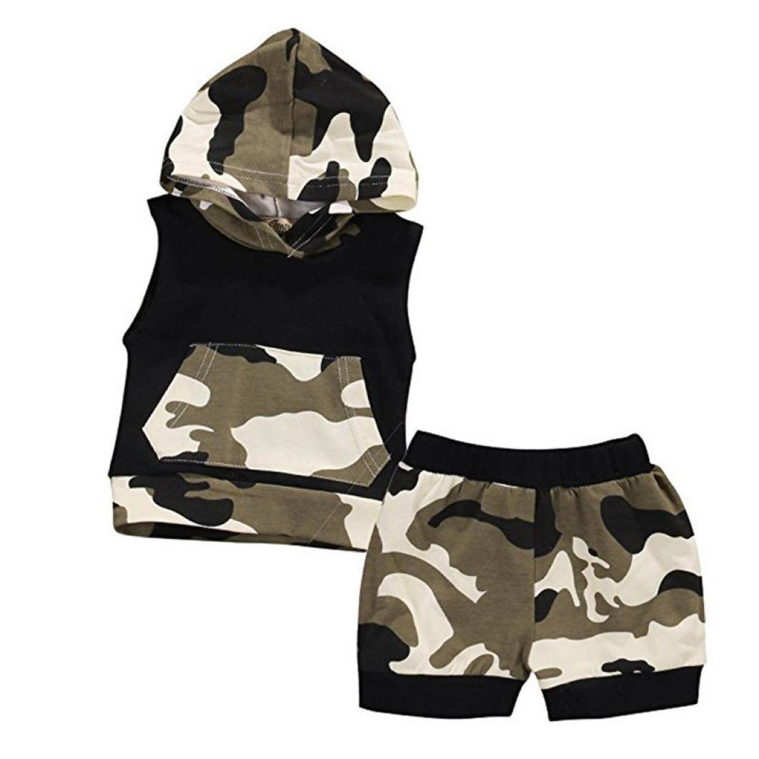 Conjuntos de ropa, Dragon868 2018 bebé de verano de niños de camuflaje camisa sin mangas con capucha + pantalones cortos 2pc/set