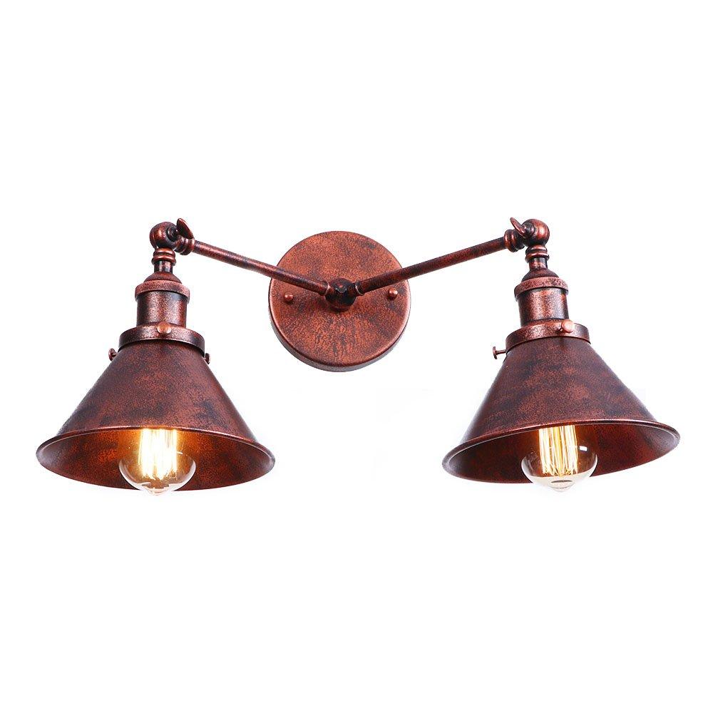 OOFAY LIGHT Vintage Wandleuchten Eisen Material Doppellampe Rostige Farbe Beleuchtung Mit E27 Sockel Zum Haus Bar Restaurants Dekoration
