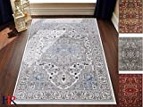 Cheap Handcraft Rugs Abstract Persian Oriental Design Contemporary Rug. Sky Blue, Ivory and Grey Color. Super Plush and Soft. 8 ft. by 10 ft.