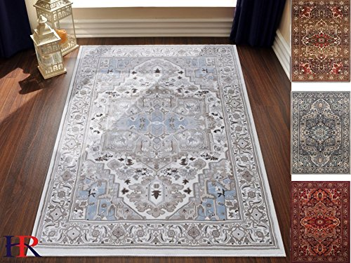Handcraft Rugs Abstract Persian Oriental Design Contemporary Rug. Sky Blue, Ivory and Grey Color. Super Plush and Soft. 8 ft. by 10 ft.