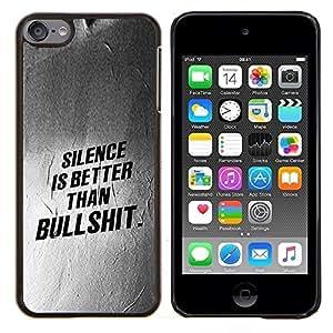 KLONGSHOP // Cubierta de piel con cierre a presión Shell trasero duro de goma Protección Caso - Silencio Mejor Lección texto Inspiring - Apple iPod Touch 6 6th Touch6 //